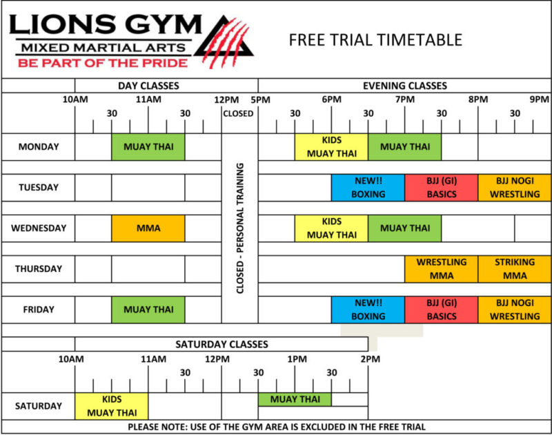 Free Trial Timetable 2017 | Lions Gym - Mixed Martial Arts Coventry