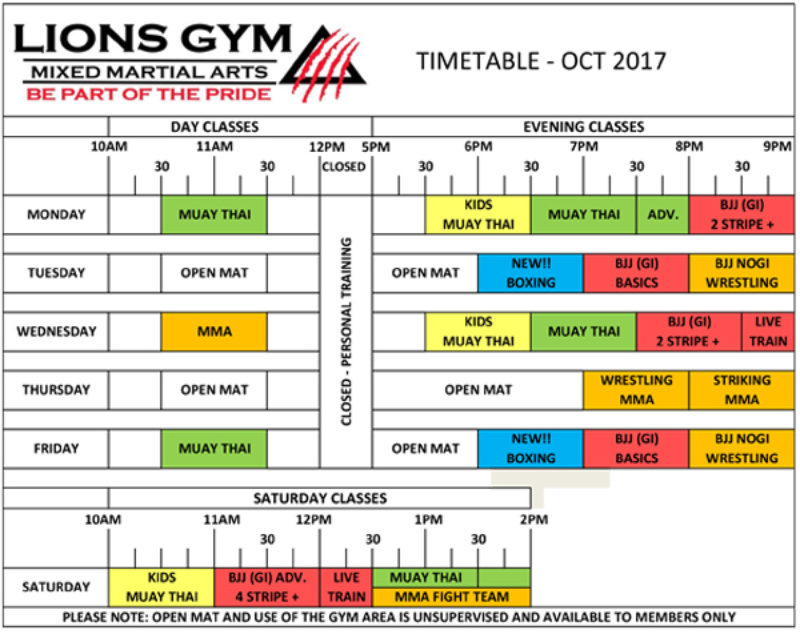 Timetable 2017 | Lions Gym - Mixed Martial Arts Coventry